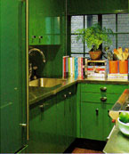 Small Kitchen Covered in a Bright Shade of Green