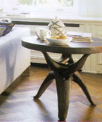 Beautiful round side table with organic root-like legs in solid wood