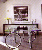 The bicycle wheels on this living room table looks like it's about to take off for the Tour de France!
