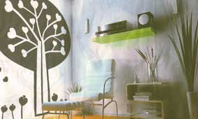 Wall decals on glass window