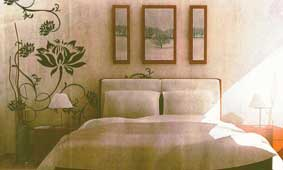 Oriental-inspired wall decals for the bedroom wall