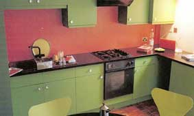 Painted Orange Splashback in Green Kitchen