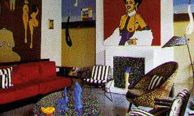 Funky mix of kitsch 70s style paintings, bold stripes, colorful furnishings and accessories gives the maximalist fireplace edge and strong personal style