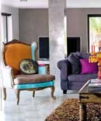 Clever and colorful use of upholstery to lift the otherwise neutral, dull gray interior