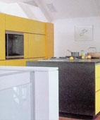 Colourful Kitchen Cabinets Contrasted with Neutral Palette